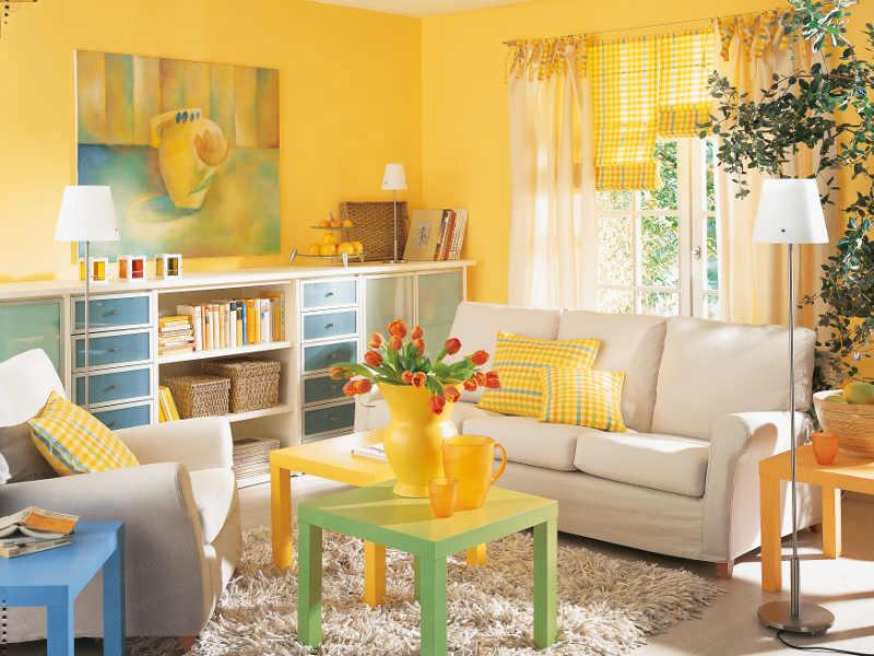 stunning wohnzimmer weis gelb contemporary - house design ideas ...